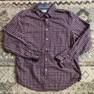 Lacoste Light Flannel Red Plaid Button Down XL